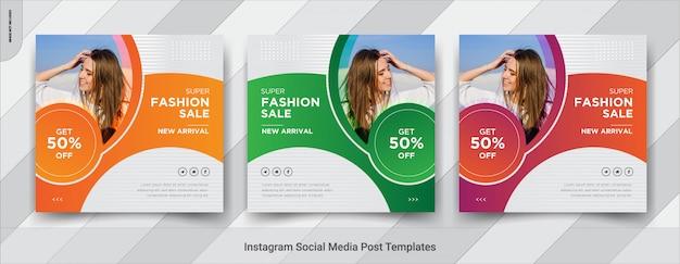 Mode verkoop sociale media vierkante post sjablonen ontwerpen