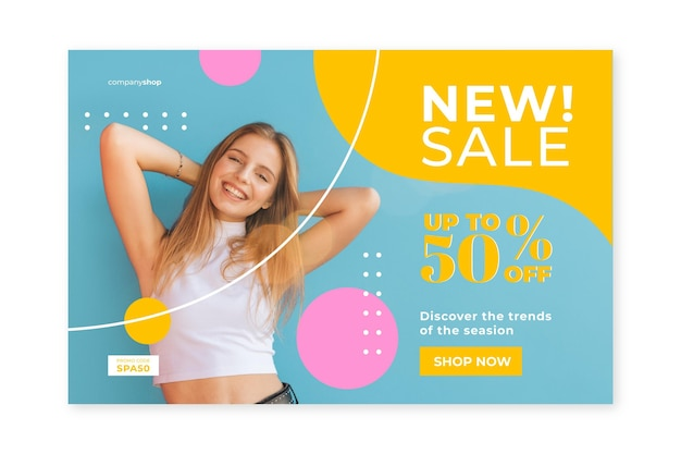 Mode verkoop startpagina sjabloon met foto