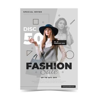 Mode verkoopsjabloon met model