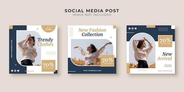 Mode vierkante bannersjabloon voor sociale media en instagram-post