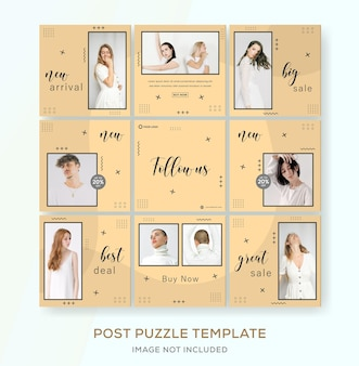 Mode voor sociale media instagram feed puzzel sjabloon voor spandoek