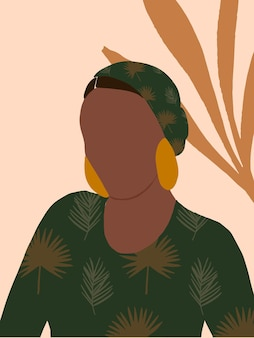Mode vrouw illustratie in minimale boho-stijl