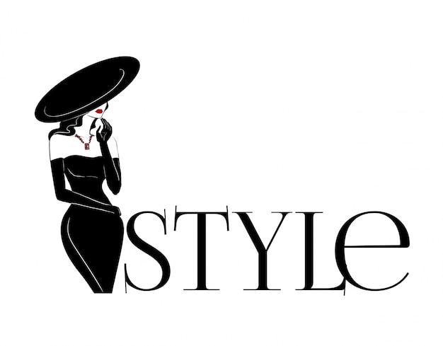 Mode vrouw in grote hoed en diamanten logo