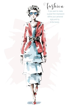 Mode vrouw in jurk.