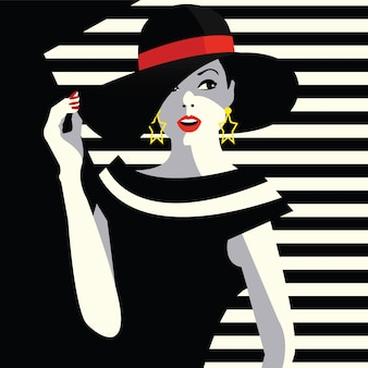 Mode vrouw in stijl pop art.