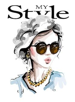 Mode vrouw in zonnebril.