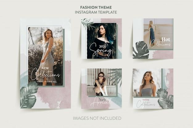 Mode vrouw instagram verhalen sjabloon met tropische bladeren