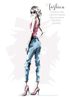 Mode vrouw kijken.