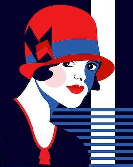 Mode vrouw met hoed. portait art decostijl. plat ontwerp.