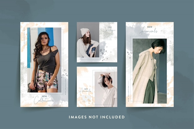 Mode vrouw sociale media sjabloon met abstracte aquarel
