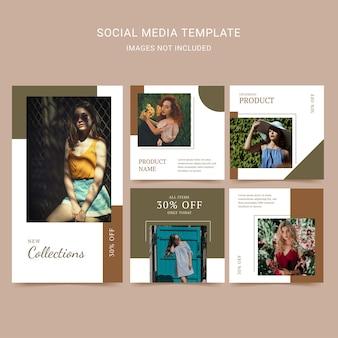 Mode vrouw sociale media sjabloon met eenvoudige lay-out en aardetintkleur