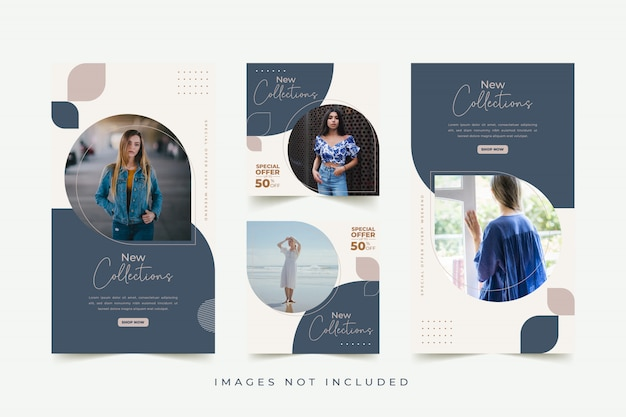 Mode vrouw sociale media sjabloon met kleurrijke achtergrond