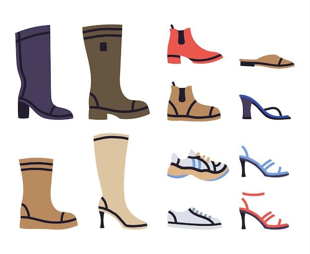 Mode vrouwelijke schoenen laarzen sneakers sandalen moderne vector illustratie set