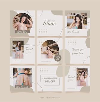 Mode vrouwen sjabloon instagram puzzel feed