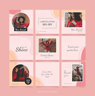 Mode vrouwen sjabloon puzzel instagram-post