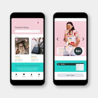 Mode winkelen app-concept