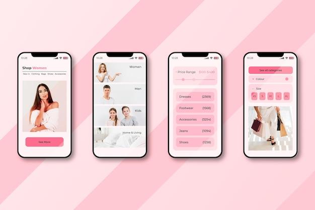 Mode winkelen app-interface