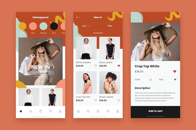 Mode winkelen app-sjabloon set