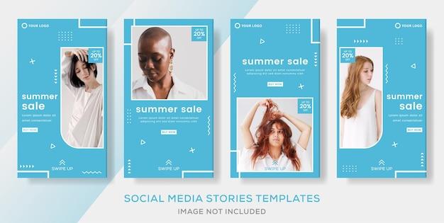 Modebanner voor zomerverkoopsjabloonverhalen plaatsen premium vector