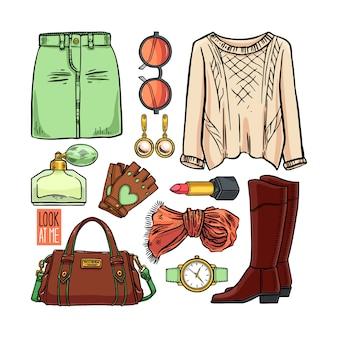 Modecollectie van meisjeskleding en accessoires. casual vrouw stijl. handgetekende illustratie