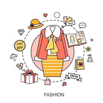 Modeconcept: vrouwelijke jurk met moderne elementen in platte lijnstijl