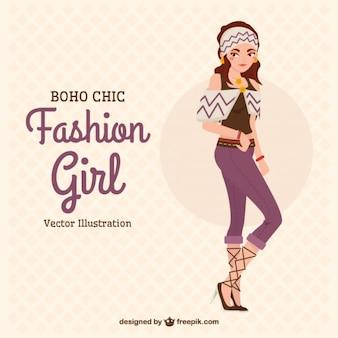 Model met trendy kleding in boho stijl