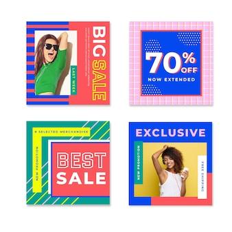 Modellen kleurrijke instagram verkooppost