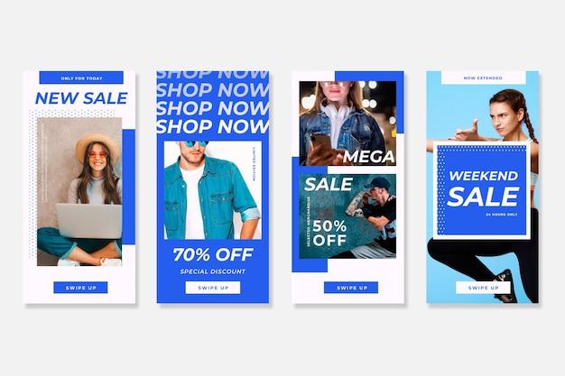 Modellen kleurrijke instagram verkoopverhalen