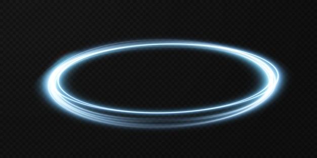 Modellering van lichtblauwe lijnen van het lichtspoor van de ringverlichting van het podium.