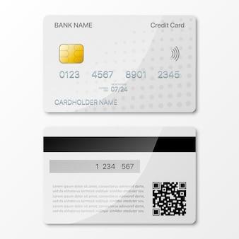Modelontwerp voor creditcards voor- en achterkant met schaduw