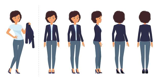 Modelvellen van stripfiguren zakenvrouw in blauw pak poses en weergaven voor animatie