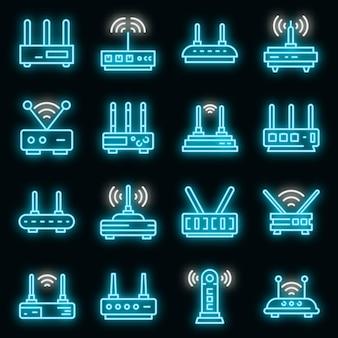 Modem pictogrammen instellen. overzicht set van modem vector iconen neon kleur op zwart
