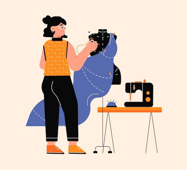 Modeontwerper illustratie met vrouw naaien kledingstuk
