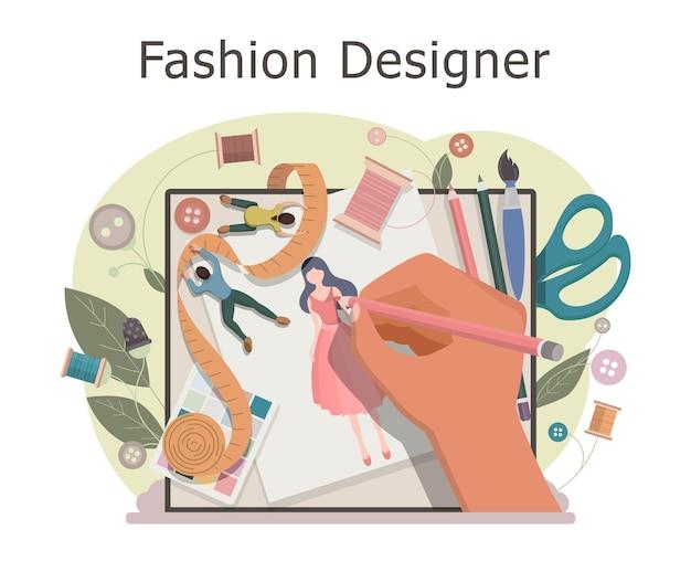 Modeontwerper maakt een schets van kleding. ontwerpen nieuwe collectie in naaiatelier. kleding ontwerpconcept. creatief atelierberoep