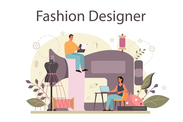 Modeontwerper of kleermaker concept