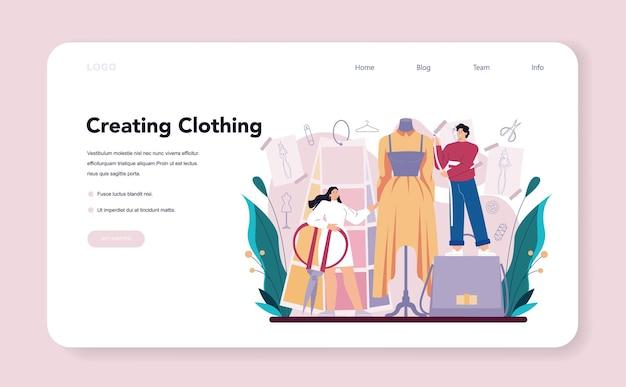 Modeontwerper webbanner of professionele kleermaker op bestemmingspagina