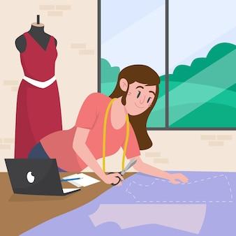 Modeontwerperillustratie met vrouw die kledingstuk maakt