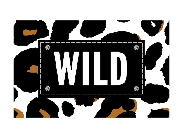 Modeprint met wilde dieren met letters en luipaardeffect