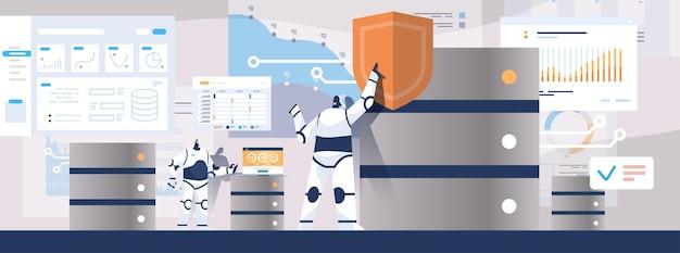 Moder robotbeheerders werken met dataserver sql gestructureerde querytaal kunstmatige intelligentie concept horizontale volledige lengte vectorillustratie
