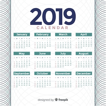 Modern 2019 kalendersjabloon met abstracte vormen
