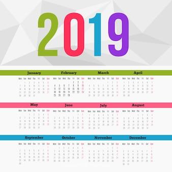 Modern 2019 kalendersjabloon met plat ontwerp