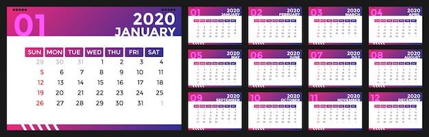 Modern 2020 kalenderontwerp