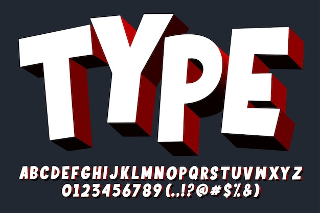 Modern 3d cartoon alfabet