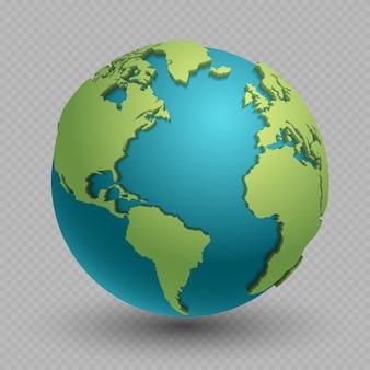 Modern 3d geïsoleerd wereldkaartconcept