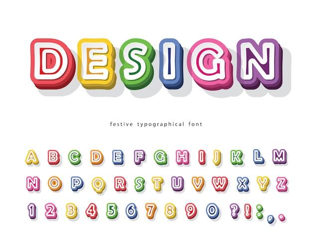 Modern 3d helder lettertype. cartoon papier uitgesneden alfabet.