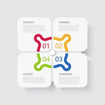 Modern 3d infographic sjabloon met 4 stappen voor succes