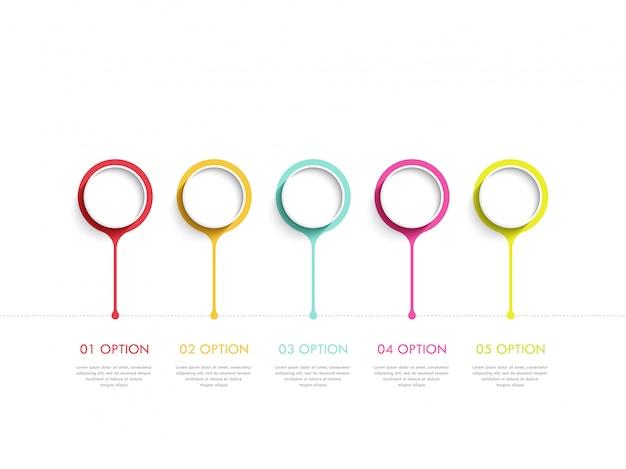 Modern abstract 3d infographic sjabloon met vijf stappen