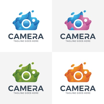 Modern abstract camera-logo met 3d-stijl.