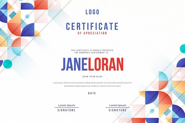 Modern abstract ontwerp van certificaatsjabloon