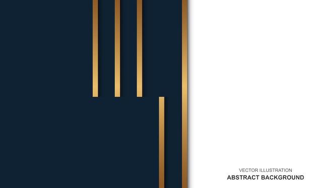 Modern achtergrond blauw en gouden lijnen luxe design